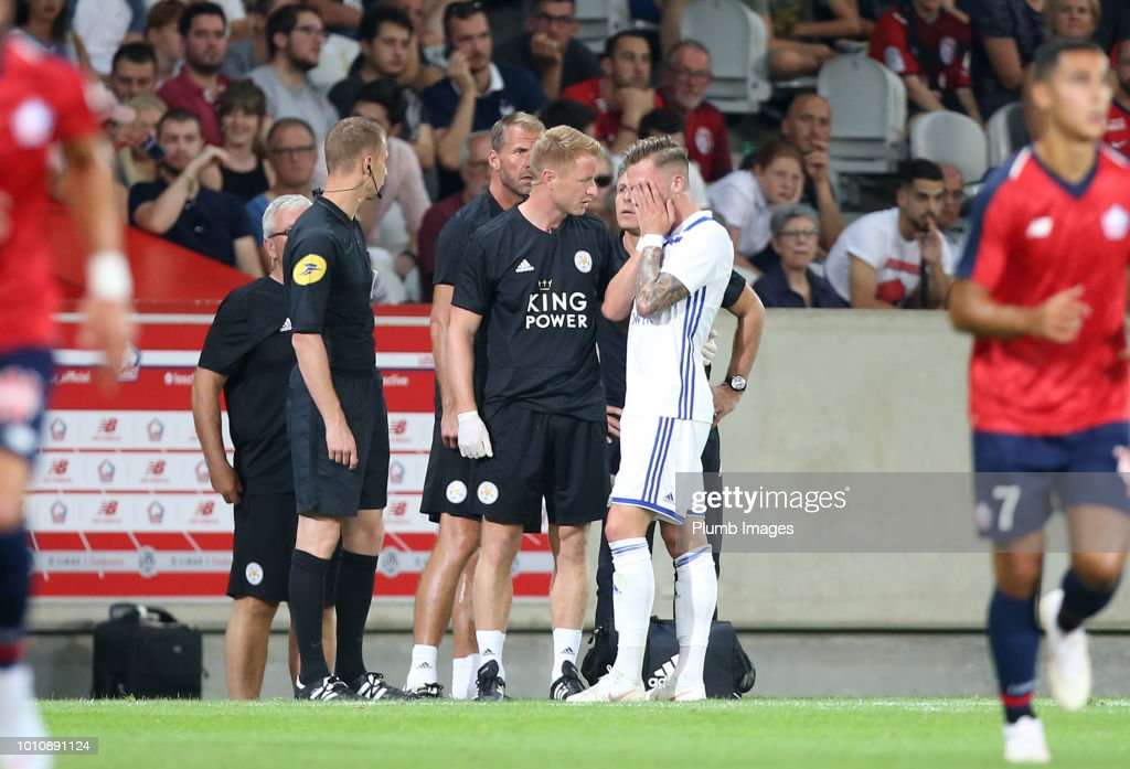 James Maddison of Leicester City visibly upset at going off injured during the pre-season friendly match between Lille and Leicester City at Stade Pierre Mauroy on August 4, 2018 in Lille, France.