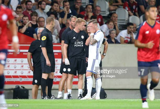 James Maddison of Leicester City visibly upset at going off injured during the preseason friendly match between Lille and Leicester City at Stade...