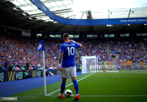 James Maddison of Leicester City walks to take a corner during the Premier League match between Leicester City and Wolverhampton Wanderers at The...