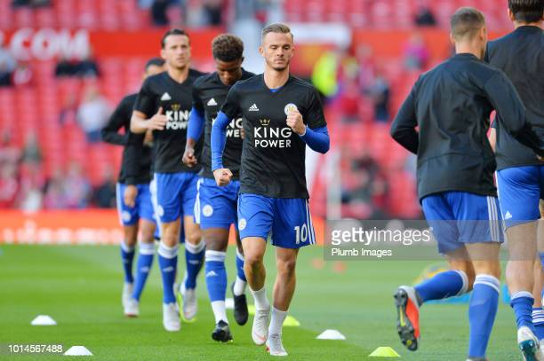 James Maddison of Leicester City warms up ahead of the Premier League match between Manchester United and Leicester City at Old Trafford on August 10...