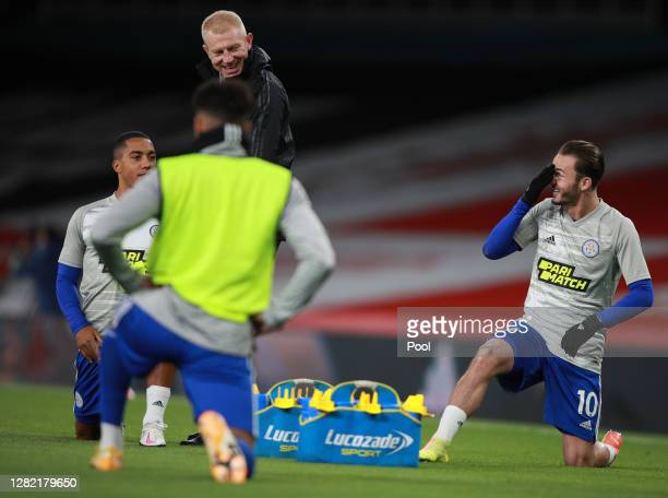 James Maddison of Leicester City warms up ahead of the Premier League match between Arsenal and Leicester City at Emirates Stadium on October 25 2020...
