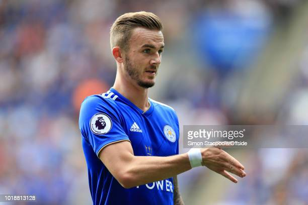 James Maddison of Leicester gestures during the Premier League match between Leicester City and Wolverhampton Wanderers at The King Power Stadium on...