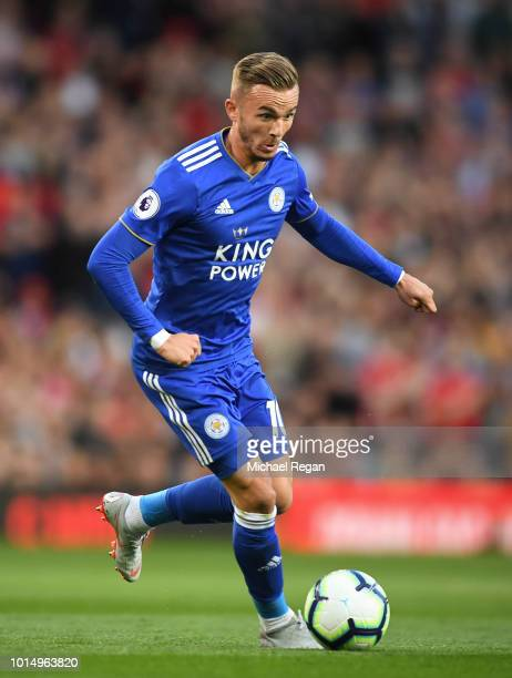 James Maddison of Leicester in action during the Premier League match between Manchester United and Leicester City at Old Trafford on August 10 2018...