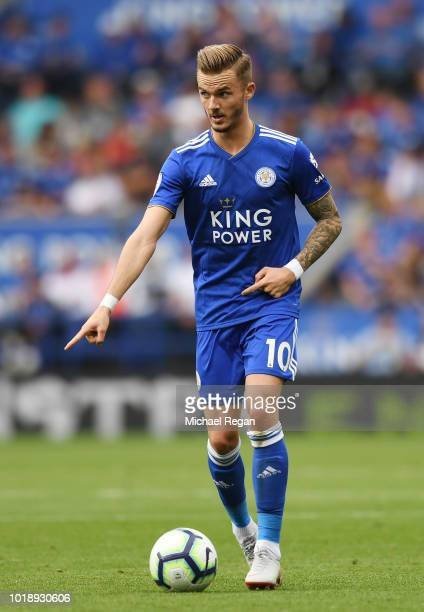 James Maddison of Leicester in action during the Premier League match between Leicester City and Wolverhampton Wanderers at The King Power Stadium on...