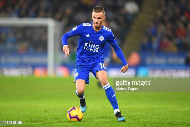 James Maddison of Leicester in action during the Premier League match between Leicester City and Brighton Hove Albion at The King Power Stadium on...