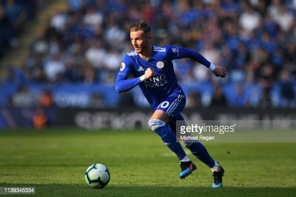 James Maddison of Leicester in action during the Premier League match between Leicester City and AFC Bournemouth at The King Power Stadium on March...