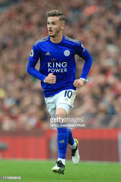 James Maddison of Leicester in action during the Premier League match between Liverpool FC and Leicester City at Anfield on October 5 2019 in...