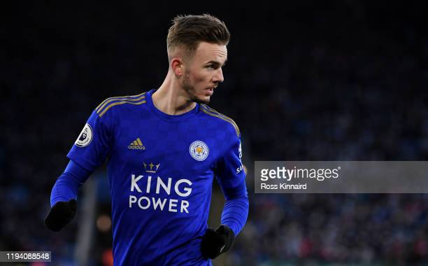 James Maddison of Leicester in action during the Premier League match between Leicester City and Norwich City at The King Power Stadium on December...