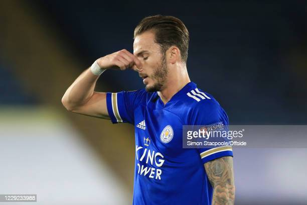 James Maddison of Leicester looks dejected as he pinches his nose during the UEFA Europa League Group G match between Leicester City and Zorya...