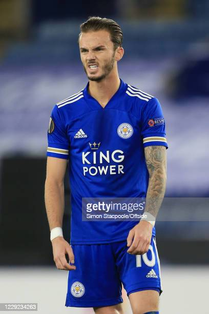 James Maddison of Leicester looks dejected during the UEFA Europa League Group G match between Leicester City and Zorya Luhansk at The King Power...