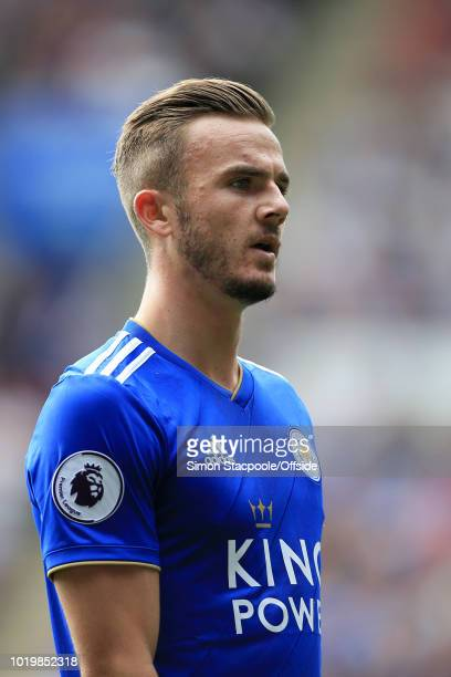 James Maddison of Leicester looks on during the Premier League match between Leicester City and Wolverhampton Wanderers at The King Power Stadium on...