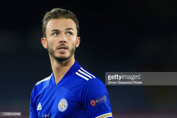 James Maddison of Leicester looks up during the UEFA Europa League Group G match between Leicester City and Zorya Luhansk at The King Power Stadium...