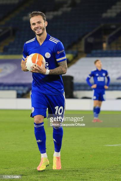 James Maddison of Leicester smiles as he carries the ball during the UEFA Europa League Group G match between Leicester City and Zorya Luhansk at The...