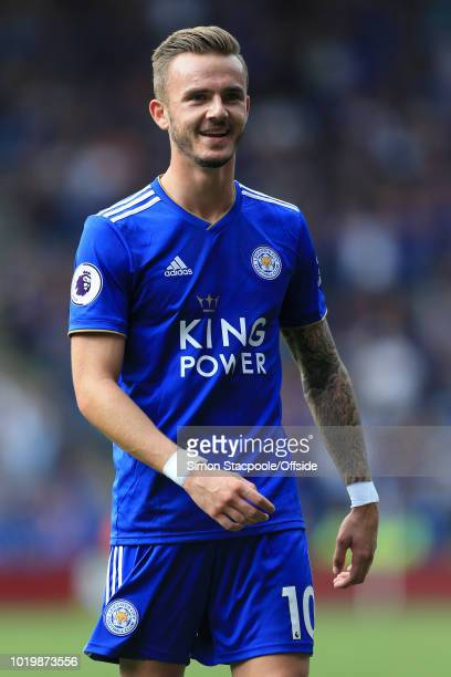 James Maddison of Leicester smiles during the Premier League match between Leicester City and Wolverhampton Wanderers at The King Power Stadium on...