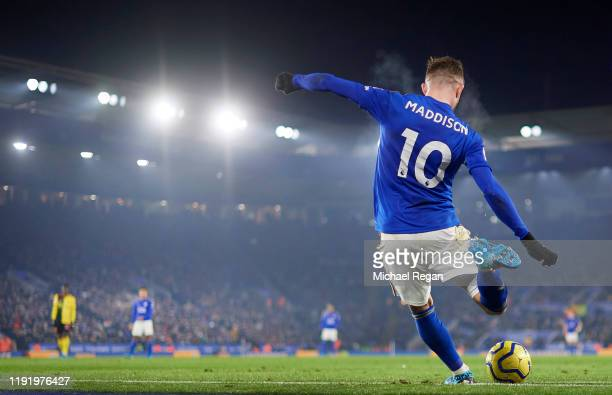 James Maddison of Leicester takes a corner during the Premier League match between Leicester City and Watford FC at The King Power Stadium on...