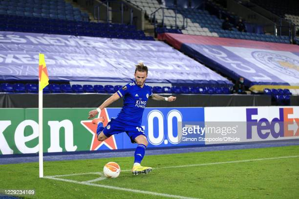 James Maddison of Leicester takes a corner during the UEFA Europa League Group G match between Leicester City and Zorya Luhansk at The King Power...