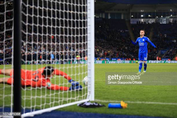 James Maddison of Leicester watches as his penalty is saved by Man City goalkeeper Arijanet Muric in the shootout during the Carabao Cup Quarter...