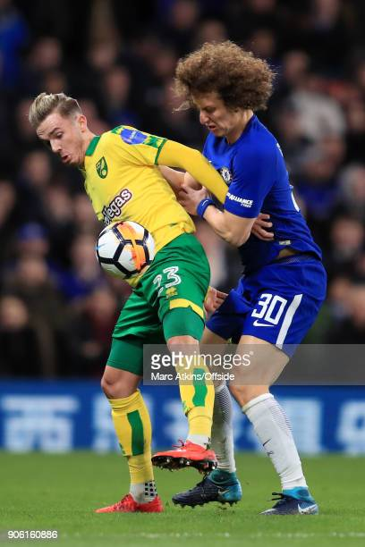 James Maddison of Norwich battles with David Luiz of Chelsea during The Emirates FA Cup Third Round Replay match between Chelsea and Norwich City at...