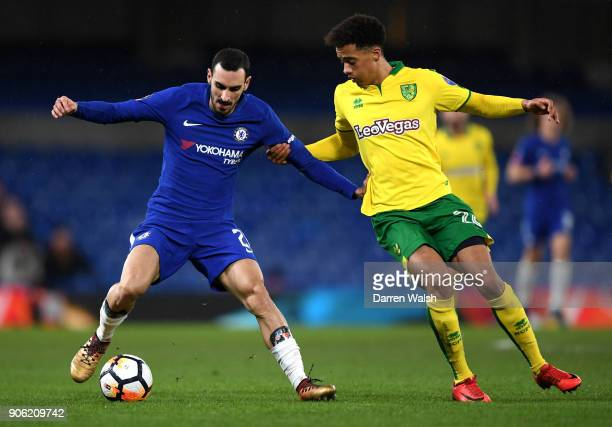 James Maddison of Norwich City and Davide Zappacosta of Chelsea in action during The Emirates FA Cup Third Round Replay between Chelsea and Norwich...