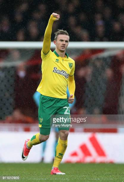 James Maddison of Norwich City celebrates scoring his sides first goal during the Sky Bet Championship match between Brentford and Norwich City at...