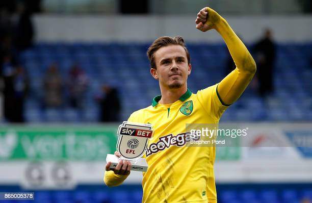 James Maddison of Norwich City celebrates victory after the Sky Bet Championship match between Ipswich Town and Norwich City at Portman Road on...