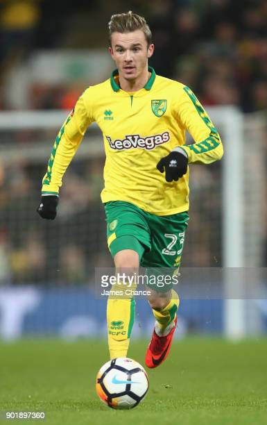 James Maddison of Norwich City runs with the ball during the The Emirates FA Cup Third Round match between Norwich City and Chelsea at Carrow Road on...