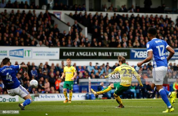 James Maddison of Norwich City scores his sides first goal during the Sky Bet Championship match between Ipswich Town and Norwich City at Portman...