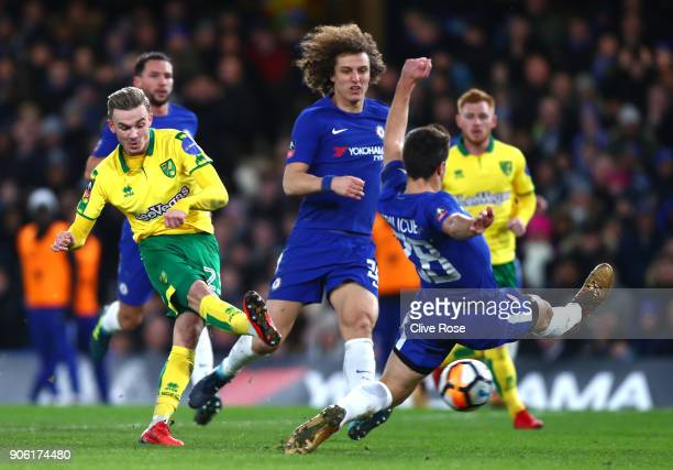 James Maddison of Norwich City shoots on goal during The Emirates FA Cup Third Round Replay between Chelsea and Norwich City at Stamford Bridge on...