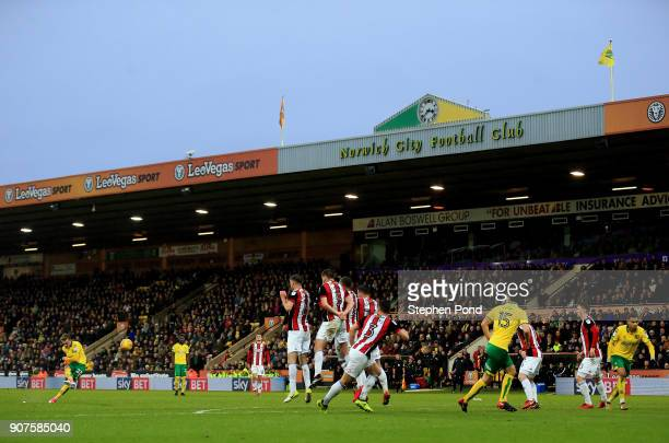 James Maddison of Norwich City strikes a free kick during the Sky Bet Championship match between Norwich City and Sheffield United at Carrow Road on...