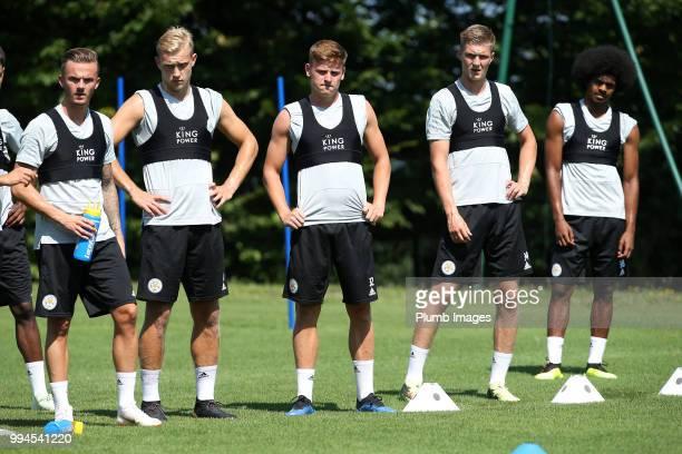 James Maddison Sam Hughes Harvey Barnes Josh Knight and Hamza Choudhury during the Leicester City preseason training camp on July 09 2018 in Evian...
