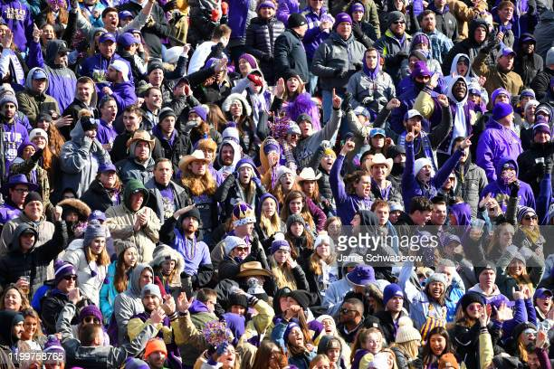 James Madison Dukes fans cheer on their team against the North Dakota State Bison during the Division I FCS Football Championship held at Toyota...