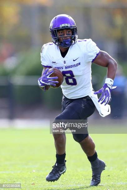 James Madison Dukes wide receiver John Miller runs with the ball during a college football game between James Madison Dukes and Rhode Island Rams on...