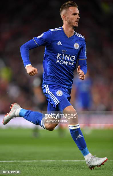 James Madison of Leicester City in action during the Premier League match between Manchester United and Leicester City at Old Trafford on August 10...