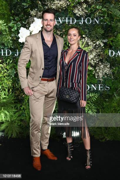 James Magnussen and partner attend the David Jones Spring Summer 18 Collections Launch at Fox Studios on August 8 2018 in Sydney Australia