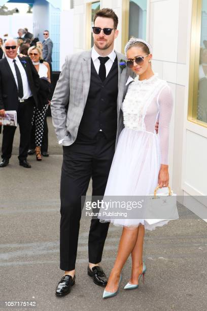 James Magnussen and partner Rose McEvoy at Derby Day at the 2018 Melbourne Cup Carnival
