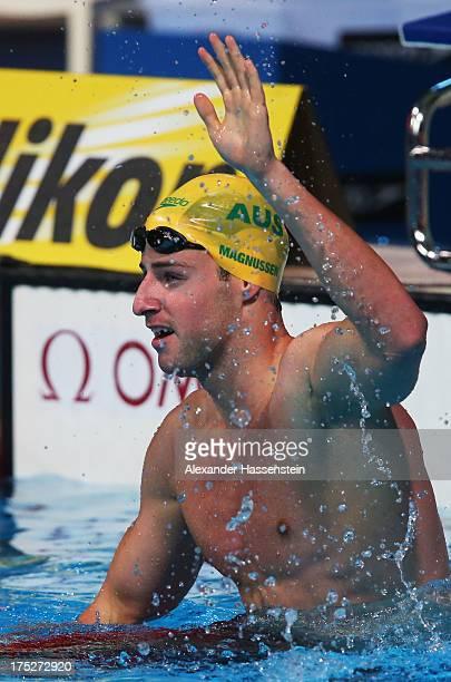 James Magnussen of Australia celebrates winning the Swimming Men's Freestyle 100m Final on day thirteen of the 15th FINA World Championships at Palau...