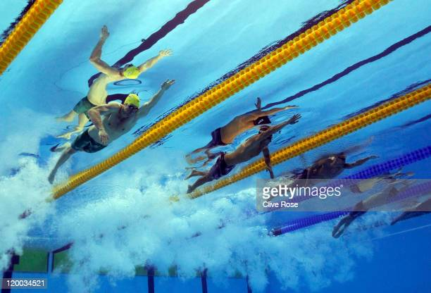 James Magnussen of Australia Nathan Adrian of the Unites States Brent Hayden of Canada and Sebastiaan Verschuren of the Netherlands compete in the...