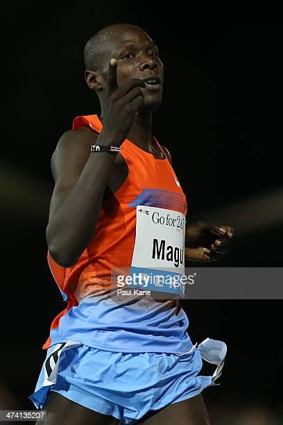 James Magut of Kenya celebrates winning the mens Herb Elliott 1 Mile Run during the Perth Track Classic at the WA Atheletics Stadium on February 22,...