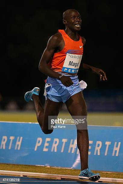 James Magut of Kenya competes in the mens Herb Elliott 1 Mile Run during the Perth Track Classic at the WA Atheletics Stadium on February 22, 2014 in...