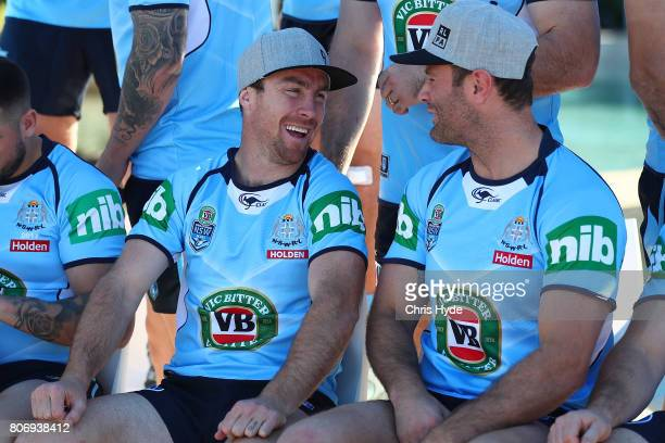 James Maloney and Boyd Cordner during the New South Wales Blues State of Origin team photograph at Salt Beach on July 4 2017 in Kingscliff Australia