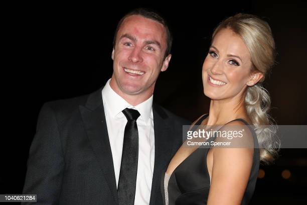James Maloney and Jessica Anderson arrive at the 2018 Dally M Awards at Overseas Passenger Terminal on September 26 2018 in Sydney Australia