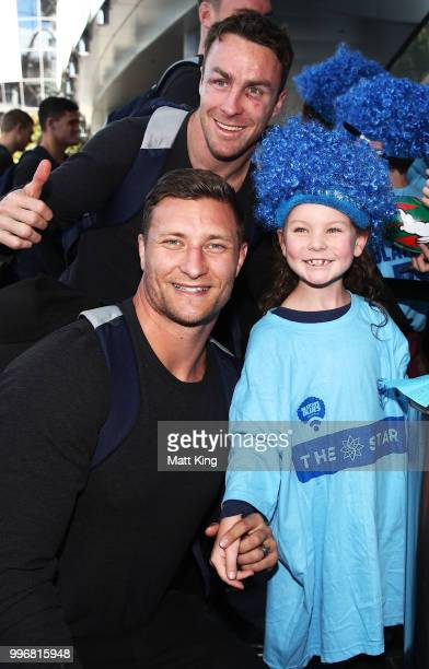 James Maloney and Tariq Sims interact with fans during a New South Wales Blues public reception after winning the 2018 State of Origin series at The...