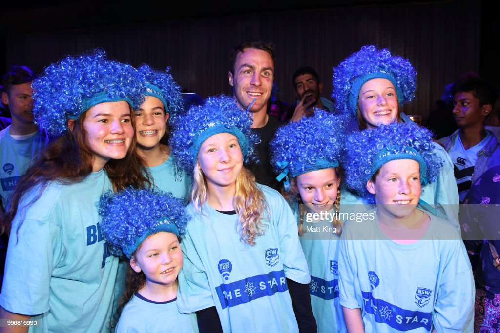 James Maloney interacts with fans during a New South Wales Blues public reception after winning the 2018 State of Origin series at The Star on July 12, 2018 in Sydney, Australia.