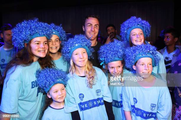 James Maloney interacts with fans during a New South Wales Blues public reception after winning the 2018 State of Origin series at The Star on July...