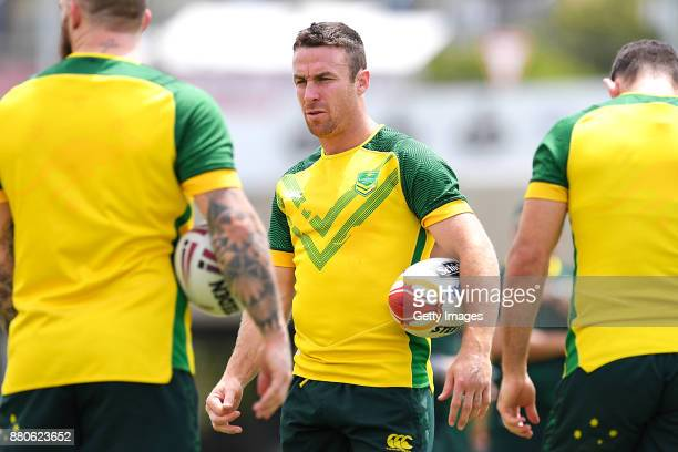 James Maloney looks on during the Australian Kangaroos Rugby League World Cup training session at Langlands Park on November 28 2017 in Brisbane...