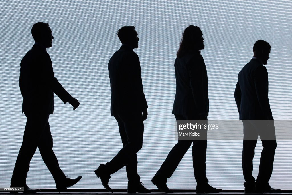 James Maloney, Mitchell Pearce, Aaron Woods and Nathan Peats walk on stage during the New South Wales State of Origin team announcement at The Star on May 22, 2017 in Sydney, Australia.