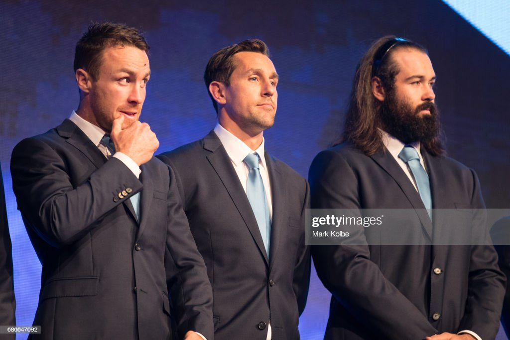 James Maloney, Mitchell Pearce and Aaron Woods stand on stage during the New South Wales State of Origin team announcement at The Star on May 22, 2017 in Sydney, Australia.