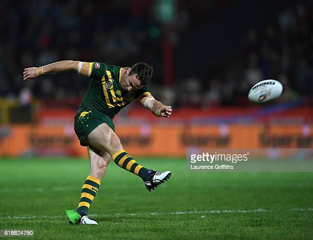 James Maloney of Australia kicks for goal during the Four Nations match between the Australian Kangaroos and Scotland at KCOM Lightstream Stadium on...