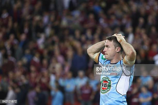James Maloney of the Blues looks dejected after defeat during game two of the State Of Origin series between the Queensland Maroons and the New South...