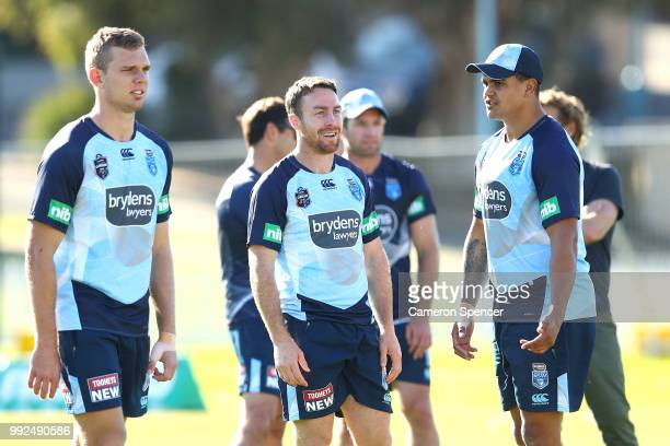 James Maloney of the Blues talks to team mates during a New South Wales Blues State of Origin training session at Coogee Oval on July 6 2018 in...